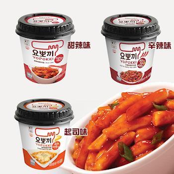 YOPOKKI 甜辣味140g/辛辣味120g/起司味炒年糕120g(12杯/組)|日韓泡麵