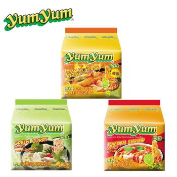 YUM YUM 養養香濃酸辣蝦味麵/泰式綠咖哩味麵/泰式酸辣蝦味麵(6袋/組)|台灣|南洋泡麵
