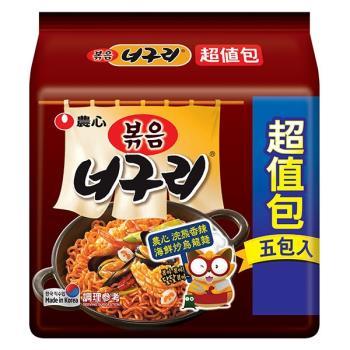 農心浣熊香辣海鮮炒烏龍麵(137gX4+1包/4組)|日韓泡麵