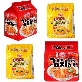 【韓國不倒翁OTTOGI】起司拉麵+泡菜風味拉麵(2+2組合)|日韓泡麵