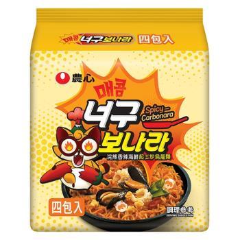 農心浣熊香辣海鮮起士炒烏龍麵(134gX4包/4組)|日韓泡麵