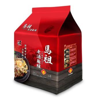 【五木】馬祖酒廠老酒麵線4入/袋裝(花雕雞風味)*12袋裝|乾拌麵