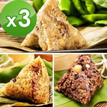 預購-樂活e棧-三低招牌素滷粽子+三低素食養生粽子+御品麻油猴頭菇粽子(6顆/包,共3包)(06/3~06/6 出貨)|素粽