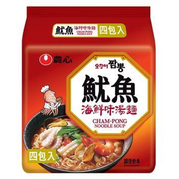 農心 魷魚海鮮味湯麵(124gX4包/8組)|日韓泡麵