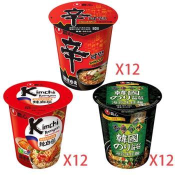 農心 辛香菇味+泡菜味+海苔味杯麵(12入/箱)共3箱組|日韓泡麵