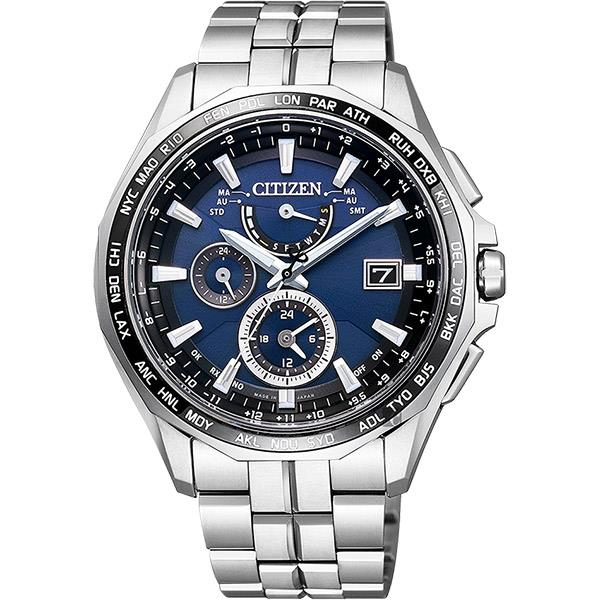 premium selection a19c8 9a99f CITIZEN 星辰 光動能電波鈦金屬腕錶 藍x銀 42mm AT9090-53L