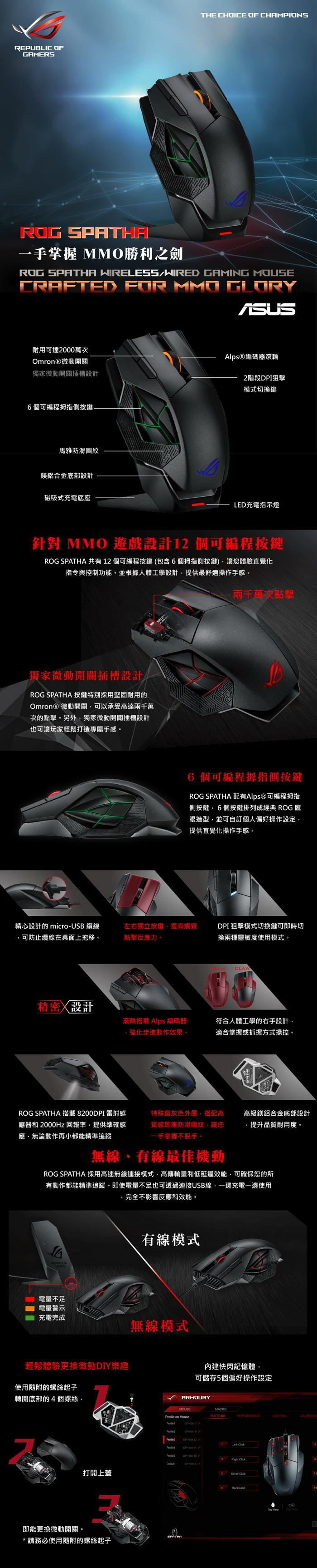 ASUS 華碩ROG SPATHA 無線雙模電競滑鼠|ASUS|Her森森購物網