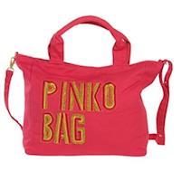 PINKO LOGO金色繡字手提/斜肩背包(桃紅)R02-bacca網