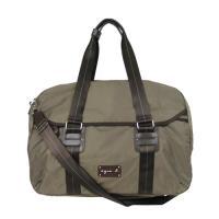 agnes b. 皮標雙槓環扣旅行袋(大/咖啡)-破