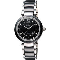 Diadem 黛亞登 都會女伶晶鑽陶瓷腕錶-黑 8D1407-511DD-D