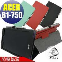 【EZstick】ACER Iconia One 7 B1-750 專用防電磁波皮套 (黑色背夾旋轉款式)+鏡面防汙螢幕貼 組合(贈機身貼)