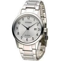 星辰 CITIZEN 光動能復古時光經典腕錶 AW1231-58B 銀