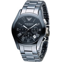 EMPORIO ARMANI Ceramica 自我風格陶瓷計時腕錶 AR1400 黑