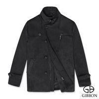 GIBBON 排扣立領羊毛大衣‧灰色M-3L
