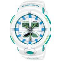 【CASIO】 G-SHOCK 亮白萊姆綠雙顯運動膠帶電子錶 (GA-500WG-7A)