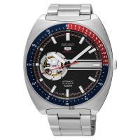 SEIKO精工 5號尊者鏤空機械腕錶 黑 44mm 4R38-01K0D SSA329J1
