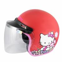 【Hello Kitty】Candy 成人機車安全帽-紅 (附 防護鏡片)