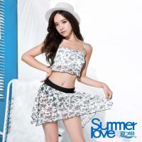 【SUMMERLOVE夏之戀】大女短版提花三件式泳衣E16708