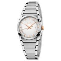 Calvin Klein CK Step 城市美學腕錶 銀x玫瑰金時標 30mm K6K33B46