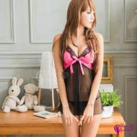 【Sexy Cynthia】性感睡衣 俏麗黑桃撞色網紗二件式睡衣