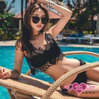 天使霓裳  泳衣 蝶舞夏日 二件式蕾絲比基尼泳裝(黑M.L) JH17013