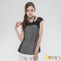 MONS時尚網格撞色造型長版上衣