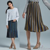 【A1 Darin】韓版新款修身顯瘦A-LINE印花百摺裙