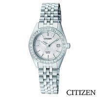 CITIZEN星辰 施華洛世奇錶圈珍珠錶盤閃耀女仕手錶  EU6060-55D