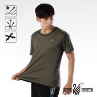 【遊遍天下】MIT男款抗UV吸濕排汗彈力圓領衫S151(咖啡)