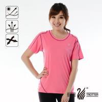 【遊遍天下】MIT女款抗UV吸濕排汗彈力圓領衫S152(粉紅)