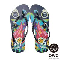 QWQ夾拖的創意(女) - 搖滾塗鴉 Fancy skeleton側鑽鍊夾腳拖鞋 - 永生黑