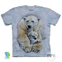【摩達客】(預購)美國進口The Mountain 親子北極熊 純棉環保短袖T恤