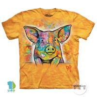 【摩達客】(預購)美國進口The Mountain 彩繪小豬 純棉環保短袖T恤