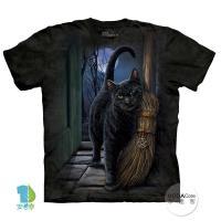【摩達客】(預購)美國進口The Mountain 魔法掃把貓 純棉環保短袖T恤
