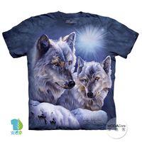 【摩達客】(預購)( 男童/女童裝)美國進口The Mountain 極光之狼 純棉環保短袖T恤