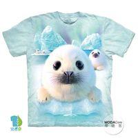 【摩達客】(預購)( 男童/女童裝)美國進口The Mountain 雪球小海豹 純棉環保短袖T恤