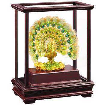 【開運陶源】孔雀開屏 富貴吉祥 彩色金箔櫥窗