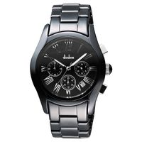 Diadem 黛亞登羅馬三眼計時陶瓷腕錶 黑 38mm 2D1407-521D-D