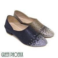 【GREEN PHOENIX】雙彩壓克力水鑽皮革壓紋全真皮低粗跟便鞋-藍色、灰色