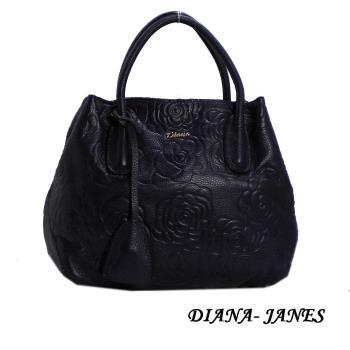Diana Janes 牛皮玫瑰花兩用女包-黑