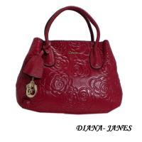Diana Janes 牛皮玫瑰花兩用女包-桃紅