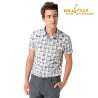 【hilltop山頂鳥】男款吸濕排汗抗UV短袖襯衫S06M61黃深藍格