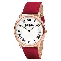 Folli Follie PERFECT MATCH 經典羅馬腕錶 銀x紅皮帶 39mm WF16R014SPS-DR