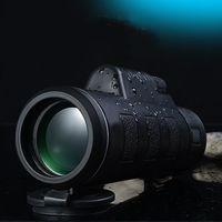【高清大目鏡雙調焦40X60微光夜視單筒望遠鏡 附三角架與手  機夾】