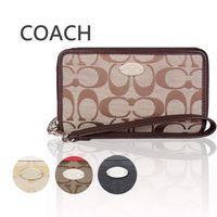 COACH 馬車織布雙層拉鍊手機包/中夾(3色選)-型(網)