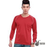 【遊遍天下】MIT中性款吸濕排汗抗UV長袖圓領衫L038-1(紅色)