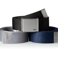 【Nike】2017金屬扣旋風標誌棉軟織帶黑灰藍3入組皮帶(預購)