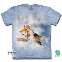摩達客 美國進口The Mountain 藍天飛撲小貓 純棉環保短袖T恤 預購