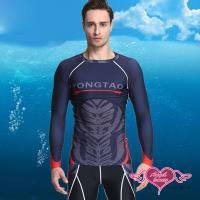 天使霓裳  泳衣 率性圖紋 二件式水母衣防曬長袖泳裝(黑L.XL) SX33