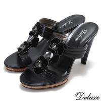 【Deluxe】全真皮優雅時尚絨布花朵高跟拖鞋(黑)-1618